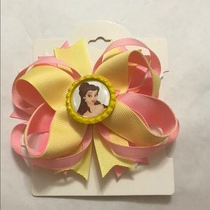 Beauty and the beast princess belle hair bow